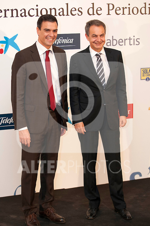 "King Felipe of Spain and Queen Letizia of Spain attend 'XIII EDICIÓN DE LOS PREMIOS INTERNACIONALES DE PERIODISMO 2013 Y CONMEMORACIÓN DEL 25º ANIVERSARIO DEL DIARIO ""EL MUNDO"" at The Westin Palace Hotel. <br /> Pedro Sanchez and Jose Luis Rodriguez Zapatero<br /> October 20, 2014. (ALTERPHOTOS/Emilio Cobos)"