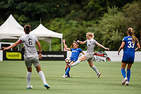 Seattle, WA - Sunday, August 13, 2017: Samantha Mewis and Rumi Utsugi during a regular season National Women's Soccer League (NWSL) match between the Seattle Reign FC and the North Carolina Courage at Memorial Stadium.