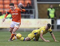 Blackpool's Jordan Thompson  battles with Bristol Rovers' James Clarke<br /> <br /> Photographer Mick Walker/CameraSport<br /> <br /> The EFL Sky Bet League One - Blackpool v Bristol Rovers - Saturday 3rd November 2018 - Bloomfield Road - Blackpool<br /> <br /> World Copyright © 2018 CameraSport. All rights reserved. 43 Linden Ave. Countesthorpe. Leicester. England. LE8 5PG - Tel: +44 (0) 116 277 4147 - admin@camerasport.com - www.camerasport.com