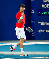 TOMAS BERDYCH (CZE) against GRIGOR DIMITROV (BUL) in the group stage of the Hopman Cup. Czech Republic beat Bulgaria 6-4 6-7 6-3..02/01/2012, 2nd January 2012, 02.01.2012..The HOPMAN CUP, Burswood Dome, Perth, Western Australia, Australia.@AMN IMAGES, Frey, Advantage Media Network, 30, Cleveland Street, London, W1T 4JD .Tel - +44 208 947 0100..email - mfrey@advantagemedianet.com..www.amnimages.photoshelter.com.