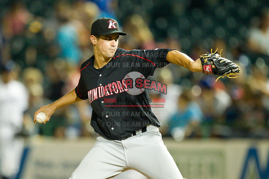 Kannapolis Intimidators relief pitcher Jeff Soptic (45) in action against the Lakewood BlueClaws at FirstEnergy Park on August 8, 2012 in Lakewood, New Jersey.  The BlueClaws defeated the Intimidators 5-0.  (Brian Westerholt/Four Seam Images)