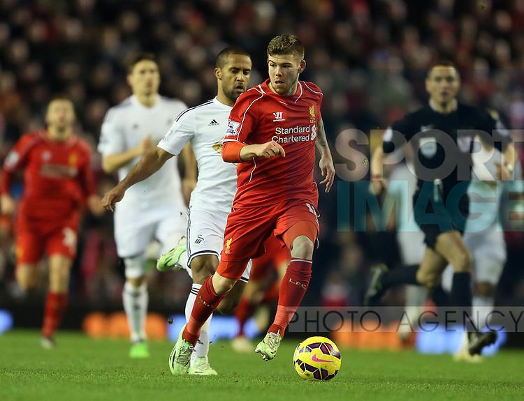 Alberto Moreno of Liverpool - Barclays Premier League - Liverpool vs Swansea City - Anfield Stadium - Liverpool - England - 29th December 2014  - Picture Simon Bellis/Sportimage