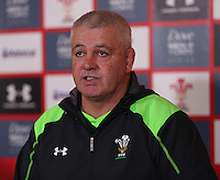 Tuesday 11 November 2014<br /> Pictured: Warren Gatland<br /> Re: Wales rugby union coach Warren Gatland talks to the media at the Vale Resort Hotel in Hensol, Mid Glamorgan, Wales, United Kingdom on November 11, 2014, ahead of a rugby match against the Fiji national rugby team on November 15 at the Millennium Stadium.