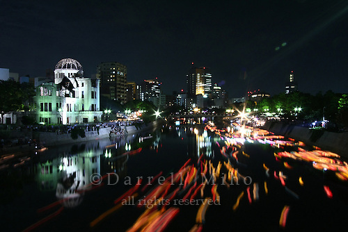 Aug 06, 2009; Hiroshima City, Hiroshima Pref., JPN - The Genbaku Dome is bathed in light during the lantern floating ceremony on the Motoyasu river in remembrance of those who have passed away as a result of the atomic bomb that was dropped on Hiroshima August 06, 1945...Photo credit: Darrell MIho.
