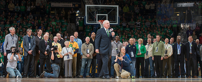 Jan 19, 2014; Former basketball coach Richard &quot;Digger&quot; Phelps gives remarks as he is inducted into the Notre Dame Ring of Honor. <br /> <br /> Photo by Matt Cashore