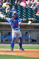 Tennessee Smokies catcher Willson Contreras (40) throws the ball back to his pitcher during the game against the Birmingham Barons at Regions Field on May 3, 2015 in Birmingham, Alabama.  The Smokies defeated the Barons 3-0.  (Brian Westerholt/Four Seam Images)