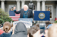 Democratic presidential candidate and Vermont senator Bernie Sanders addresses supporters gathered outside the NH State House after he filed the required paperwork and paid the $1000 filing fee to be on the 2020 Democratic presidential ballot in the NH Secretary of State's Office in Concord, New Hampshire, on Thu., October 31, 2019. As part of the filing process, Sanders signed a ceremonial primary ballot that is signed by all candidates in the race. Sanders was accompanied during the process by his wife Jane O'Meara Sanders.