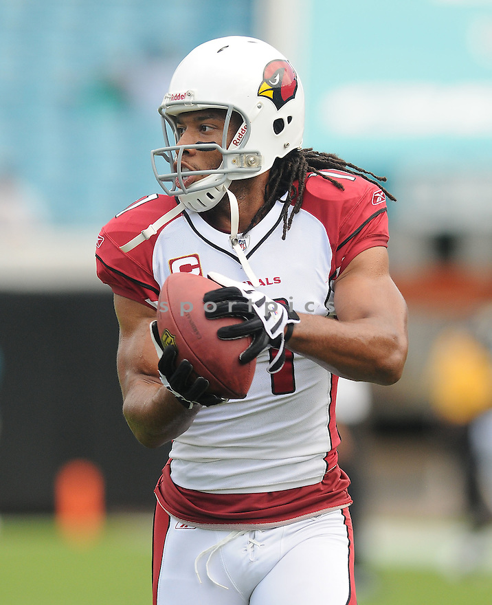 LARRY FITZGERALD,of the Arizona Cardinals , in action during the Cardinals game against the Jacksonville Jaguars on September 20, 2009 Jacksonville, FL.  The Cardinals beat the Jaguars 31-17.