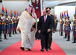 Egyptian President Abdel Fattah al-Sisi welcomes Saudi Arabia's Crown Prince Mohammed bin Salman upon his arrival in Cairo on March 4, 2018. Prince Mohammed will hold meetings with Sisi, a key regional ally, and other officials in Egypt before flying off to Britain on Wednesday and then later this month the United States. Photo by Egyptian President Office