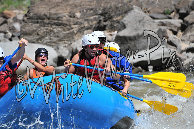 Nova Guides crashing Man-Eater Rapid while running Shoshone in Glenwood Canyon on the Colorado River, August 2, 2013, Afternoon Trip, PM, Glenwood Springs, Colorado - WhiteWater-Pix | River Adventure Photography - by MADOGRAPHER Doug Mayhew