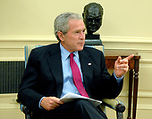 Washington, D.C. - June 20, 2007 -- United States President George W. Bush makes remarks on the federal budget during a meeting of the United States House Republican leaders in the Oval Office of the White House in Washington, DC on Wednesday, June 20, 2007.<br /> Credit: Ron Sachs  - Pool via CNP