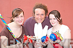 Con Horgan from the Fanzini Brothers circus gives tips to Killarney girls Saara Kokkonen (left) and Sheila O'Connor at the Circus class in the KDYS Killarney on Wednesday   Copyright Kerry's Eye 2008