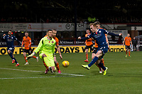 8th November 2019; Dens Park, Dundee, Scotland; Scottish Championship Football, Dundee Football Club versus Dundee United; Benjamin Siegrist of Dundee United saves the shot from Danny Johnson of Dundee  - Editorial Use