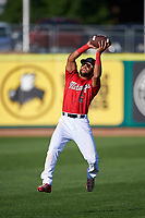 Billings Mustangs Quin Cotton (6) catches a football before a Pioneer League game against the Grand Junction Rockies at Dehler Park on August 15, 2019 in Billings, Montana. Billings defeated Grand Junction 11-2. (Zachary Lucy/Four Seam Images)