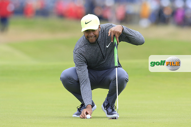 Tony Finau (USA) lines up his ball on the 2nd green during Saturday's Round 3 of the 145th Open Championship held at Royal Troon Golf Club, Troon, Ayreshire, Scotland. 16th July 2016.<br /> Picture: Eoin Clarke   Golffile<br /> <br /> <br /> All photos usage must carry mandatory copyright credit (&copy; Golffile   Eoin Clarke)
