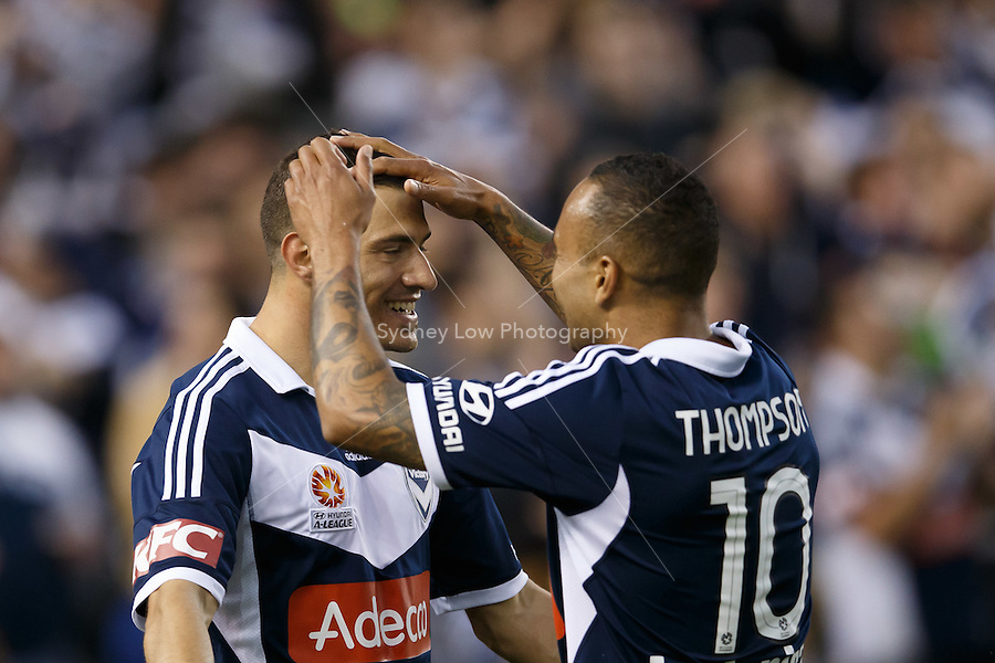 James TROISI of the Victory celebrates his goal with Archie THOMPSON in the round four match between Melbourne Victory and Wellington Phoenix in the Australian Hyundai A-League 2013-24 season at Etihad Stadium, Melbourne, Australia.<br /> This image is not for sale. Please visit zumapress.com for image licensing.
