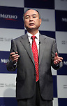 Japan's telecommunication giant Softbank president Masayoshi Son speaks at a press conference in Tokyo on Thursday, September 15, 2016. Son and Japan's mega bank Mizuho Financial Group president Yasuhiro Sato announced to form a FinTech based joint venture lending service.   (Photo by Yoshio Tsunoda/AFLO) LWX -ytd-