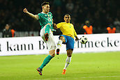 27th March 2018, Olympiastadion, Berlin, Germany; International Football Friendly, Germany versus Brazil; Niklas Sule  (Germany) challenged by Douglas Costa (Brazil)