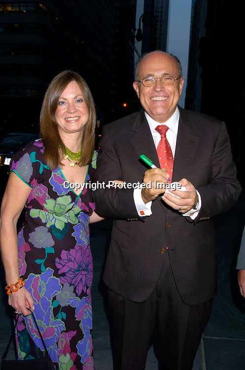 "Judy and Rudy Giuliani ..at the Book party for Sirio Maccioni's new Book "" Sirio: The ..Story of My Life and Le Cirque"" by Sirio Maccioni  and Peter Elliot, at Le Cirque on June 15, 2004. ..Photo by Robin Platzer, Twin Images"