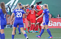 Portland, OR - Saturday May 27, 2017: Thorns celebrate a goal during a regular season National Women's Soccer League (NWSL) match between the Portland Thorns FC and the Boston Breakers at Providence Park.