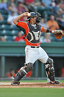 Catcher Felix Castillo (14) of the Greensboro Grasshoppers in a game against the Greenville Drive on Tuesday, August 25, 2015, at Fluor Field at the West End in Greenville, South Carolina. Greenville won, 7-0. (Tom Priddy/Four Seam Images)