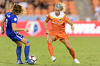 Houston, TX - Wednesday June 28, 2017: Rachel Daly attempts to stop a pass by Brooke Elby during a regular season National Women's Soccer League (NWSL) match between the Houston Dash and the Boston Breakers at BBVA Compass Stadium.