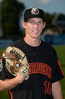 Aberdeen IronBirds pitcher Matt Trowbridge (10) poses for a photo before a game against the Williamsport Crosscutters on August 4, 2014 at Bowman Field in Williamsport, Pennsylvania.  Aberdeen defeated Williamsport 6-3.  (Mike Janes/Four Seam Images)