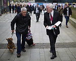© Joel Goodman - 07973 332324 . 27/09/2016 . Liverpool , UK . Anti-nuclear STUART HOLMES (l) confronts Shadow Chancellor JOHN MCDONNELL outside the conference on the third day of the Labour Party Conference at the ACC Liverpool . Photo credit : Joel Goodman