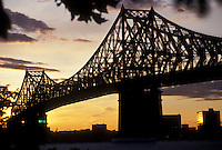 AJ2936, bridge, Montreal, Quebec, Canada, a view of Jacques-Cartier Bridge (Pont Jacques-Cartier) crossing the Saint Lawrence Seaway at sunset in Montreal in the Province of Quebec, Canada.