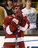 Jimmy Fraser (Harvard 9) - The Boston College Eagles defeated the Harvard University Crimson 6-5 in overtime on Monday, February 11, 2008, to win the 2008 Beanpot at the TD Banknorth Garden in Boston, Massachusetts.