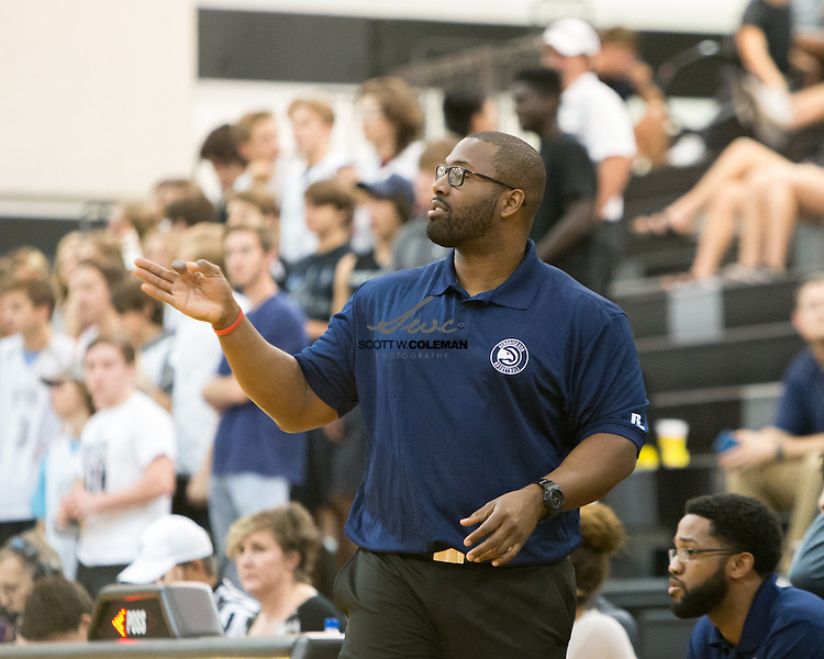 Hendrickson Hawks head coach Dustin White during a high school basketball game between the Vandegrift Vipers and the Hendrickson Hawks at Vandegrift High School in Austin, Texas, on November 15, 2016.