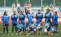 Kansas City, MO - Saturday May 13, 2017: Sydney Leroux with her new baby during the national Anthem at regular season National Women's Soccer League (NWSL) match between FC Kansas City and the Portland Thorns FC at Children's Mercy Victory Field.