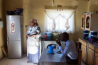 NDEVANA, SOUTH AFRICA MAY 6: Cynthia Xoliswa, age 65, grandmother of Linamandla Deliwe sits in her kitchen on May 6, 2018 in Ndevana, South Arica. Cynthia was recently robbed while sleeping and the thieves took all the food in the fridge and some clothes. The unemployment rate is huge  (about 80-90%) in this forgotten rural area about 50 km from east London, South Africa.  Lina was born and lives in Cape Town but he grew up in Ndevana. He is a successful young man and the tries to uplift the community where his grandmother and many friends still live<br /> Lina has given out many soccer kits, and he is soon opening a library, and he also wants to open a computer lab. (Photo by: Per-Anders/Getty Images)