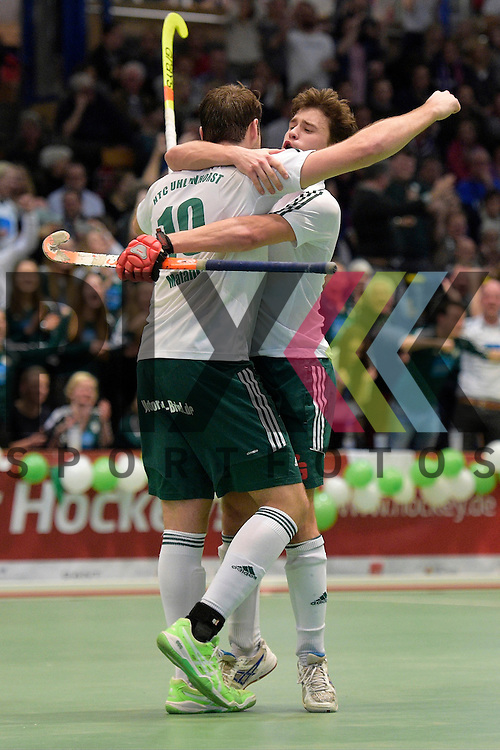 GER - Luebeck, Germany, February 06: During the 1. Bundesliga Herren indoor hockey semi final match at the Final 4 between Uhlenhorst Muelheim (white) and Mannheimer HC (blue) on February 6, 2016 at Hansehalle Luebeck in Luebeck, Germany.  Final score 2-3 (HT 7-5). ?Tobias Matania #10 of HTC Uhlenhorst Muehlheim, Jan Schiffer #27 of HTC Uhlenhorst Muehlheim<br /> <br /> Foto &copy; PIX-Sportfotos *** Foto ist honorarpflichtig! *** Auf Anfrage in hoeherer Qualitaet/Aufloesung. Belegexemplar erbeten. Veroeffentlichung ausschliesslich fuer journalistisch-publizistische Zwecke. For editorial use only.