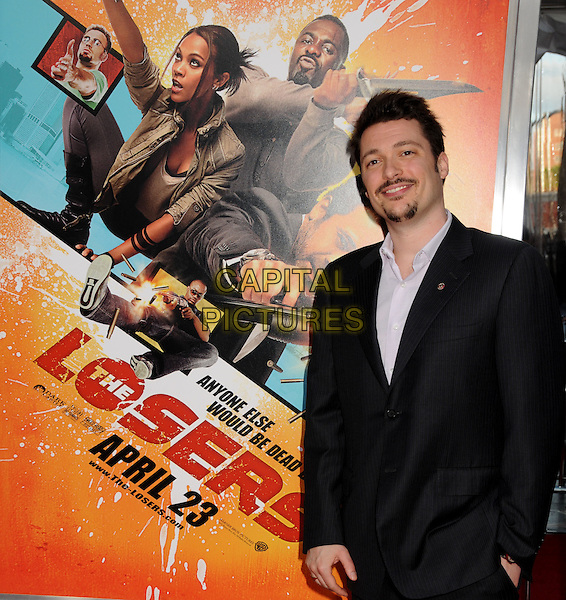 "JAMES VANDERBILT .""The Losers"" Los Angeles Premiere held at Grauman's Chinese Theatre, Hollywood, California, USA, .20th April 2010..half length beard goatee facial hair poster black suit jacket  .CAP/ADM/BP.©Byron Purvis/AdMedia/Capital Pictures."