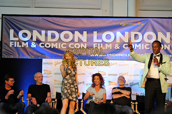 LONDON, ENGLAND - JULY 19: Michael J. Fox, Christopher Lloyd, Lea Thompson, Claudia Wells, James Tolkan and Harry Waters Jr. attending the London Film and Comic Con at Olympia London, on July 19, 2015 in London, England.<br /> CAP/MAR<br /> &copy; Martin Harris/Capital Pictures