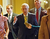 United States Senate Majority Leader Mitch McConnell (Republican of Kentucky) walks to the US Senate Chamber from his US Capitol office after releasing his newest version of the bill to repeal and replace Obamacare in the US Capitol in Washington, DC on Thursday, July 13, 2017.<br /> Credit: Ron Sachs / CNP