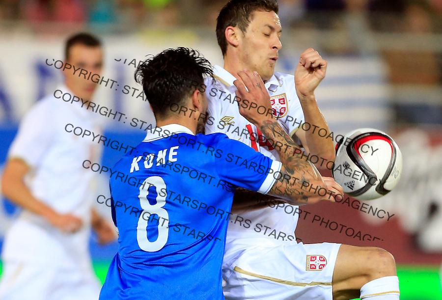 Fudbal<br /> Prijateljski mec-Friendly match<br /> Srbija v Grcka<br /> Panagiotis Kone (L) is fouled by  Nemanja Matic (R)<br /> Chania, 17.11.2014.<br /> foto: Srdjan Stevanovic/Starsportphoto &copy;