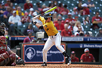 Cameron Swanger (13) of the Missouri Tigers at bat against the Oklahoma Sooners in game four of the 2020 Shriners Hospitals for Children College Classic at Minute Maid Park on February 29, 2020 in Houston, Texas. The Tigers defeated the Sooners 8-7. (Brian Westerholt/Four Seam Images)