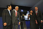 (L-r) General Motors, GM, Vice Chairman Bob Lutz, LG Chem CEO Peter Kim, University of Michigan Professor Ann Marie Sastry and GM CEO Rick Wagoner appear together at the unveiling of a new lithium-ion battery to be manufactured by GM and LG Chem at the Detroit Auto Show in Detroit, Michigan on January 12, 2009.