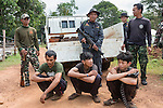Siam rosewood poachers caught by anti-poaching patrol, Thap Lan national park, Thap Lan National Park, Dong Phayayen-Khao Yai Forest Complex, eastern Thailand (August 2014)