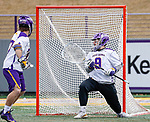 University at Albany Men's Lacrosse defeats Drexel 18-5 on Feb. 24 at Casey Stadium.  Albany goalkeeper JD Colarusso (#9) watches a Drexel goal socred. (Photo by Bruce Dudek / Cal Sport Media/Eclipse Sportswire)