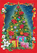 Interlitho, Emilia, CHRISTMAS SYMBOLS, paintings, tree, gifts, red frame(KL5167,#XX#)