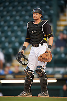 Bradenton Marauders catcher Arden Pabst (34) during a game against the Dunedin Blue Jays on May 2, 2018 at LECOM Park in Bradenton, Florida.  Bradenton defeated Dunedin 6-3.  (Mike Janes/Four Seam Images)