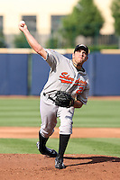 June 11th 2008:  Pitcher Cliff Flagello of the Delmarva Shorebirds, Class-A affiliate of the Baltimore Orioles, during a game at Classic Park in Eastlake, OH.  Photo by:  Mike Janes/Four Seam Images