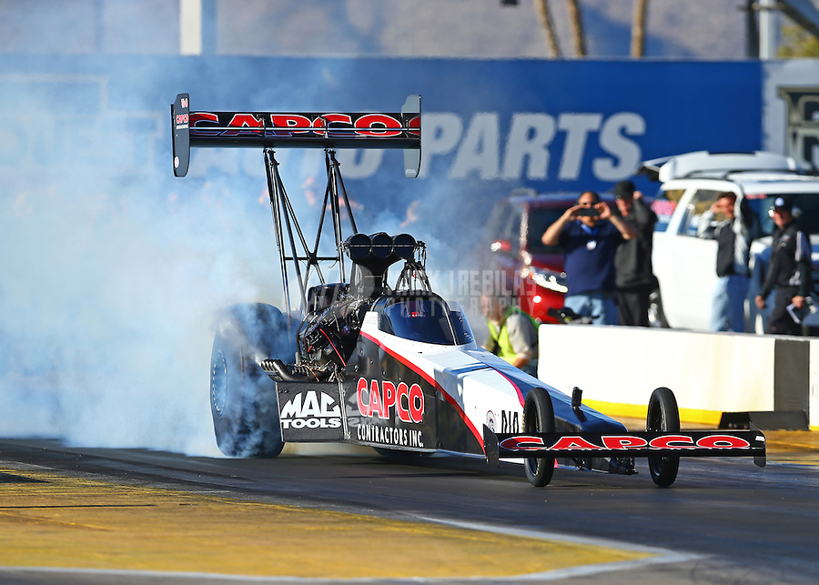 Feb 4, 2016; Chandler, AZ, USA; NHRA top fuel driver Steve Torrence during pre season testing at Wild Horse Pass Motorsports Park. Mandatory Credit: Mark J. Rebilas-USA TODAY Sports
