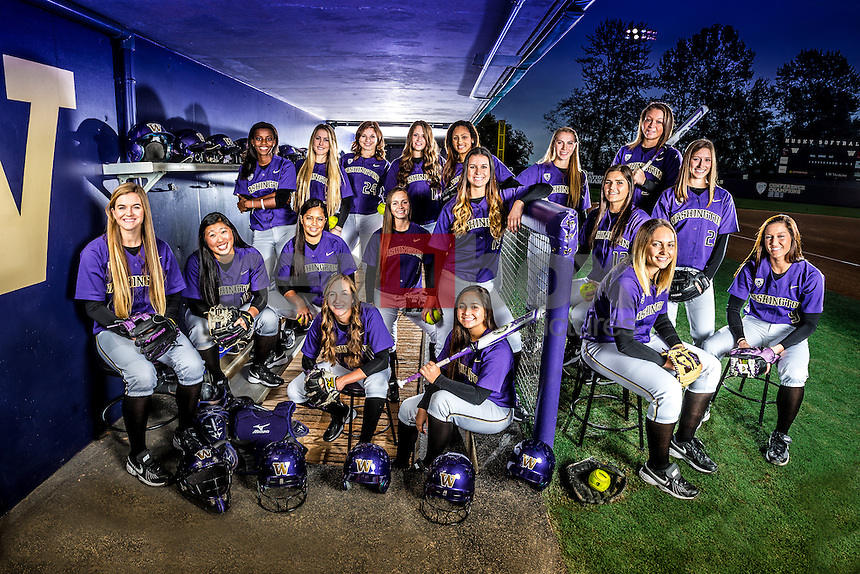 The 2015 University of Washington women's softball team photographed on October 24, 2014.(Photography by Scott Eklund/Red Box Pictures)