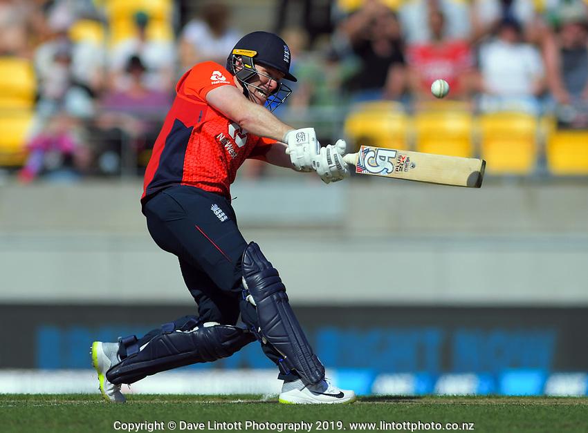 England captain Eoin Morgan hits a six. Twenty20 International cricket match between NZ Black Caps and England at Westpac Stadium in Wellington, New Zealand on Sunday, 3 November 2019. Photo: Dave Lintott / lintottphoto.co.nz