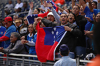February 14 2009, San Diego, CA, USA:  The IRB USA Sevens Tournament at Petco Park in Downtown San Diego.  Fans get into the spirit of the tournment during day one action.  Many nations had strong support, particularly Samoa (shown), Fiji and Kenya.