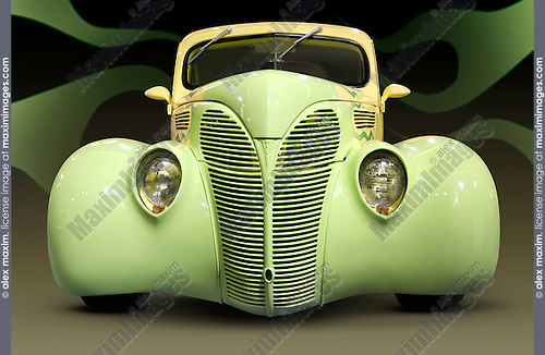 Yellow green Hot rod Ford Coupe 1938 retro car with flame pattern painted on it Front view isolated silhouette with clipping path on black background